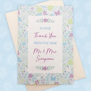 merry meadow flowers wedding thank you card