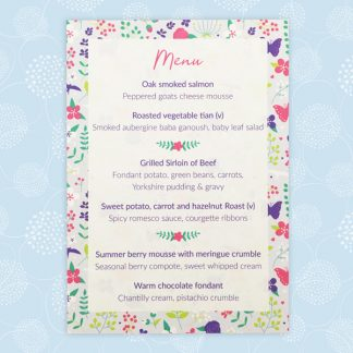 Merry Meadow Flowers wedding menu