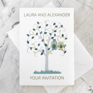 owl concertina wedding invitation