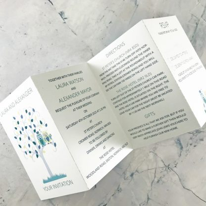 owls concertina style invitation