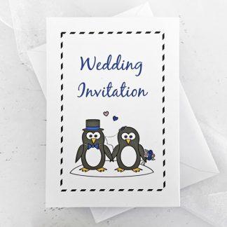 penguin concertina wedding invitation