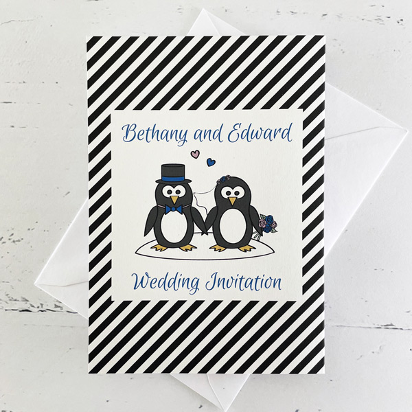 penguin concertina wedding invitation