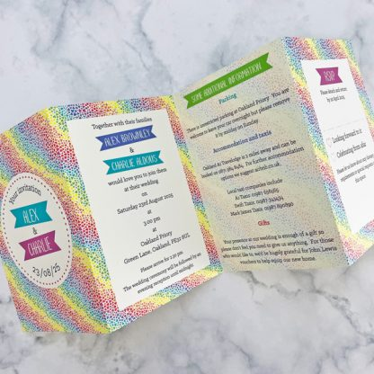 rainbow hearts colourful concertina invitations