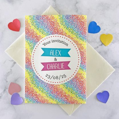 rainbow hearts concertina invitation