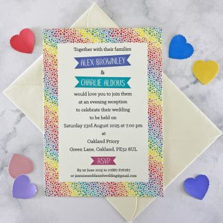 rainbow hearts evening wedding invitation