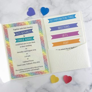 rainbow hearts pocketfold invitation