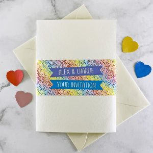 rainbow hearts pocketfold wedding invite