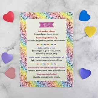 Rainbow Hearts wedding menu