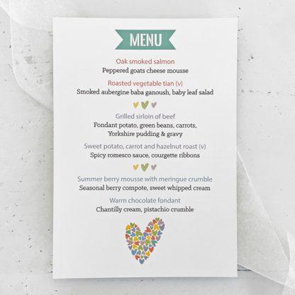 Rainbow Hearts wedding menu