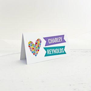 rainbow hearts wedding place name card
