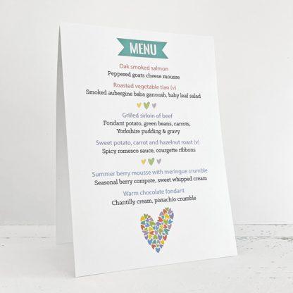 rainbow hearts standing up wedding menu