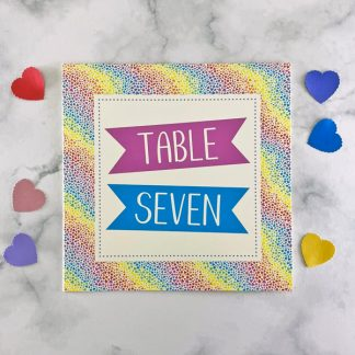 rainbow hearts wedding table number