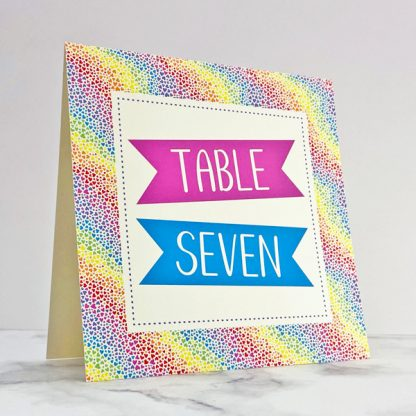 rainbow hearts wedding table name or number