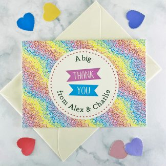 rainbow hearts wedding thank you card