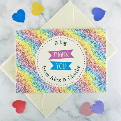 rainbow hearts wedding thank you card