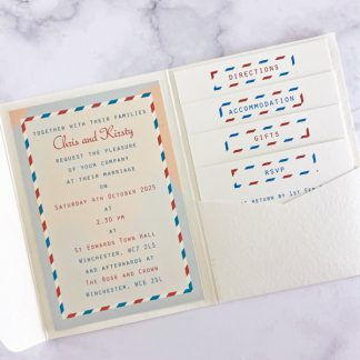 travel ticket pocketfold wedding invitation