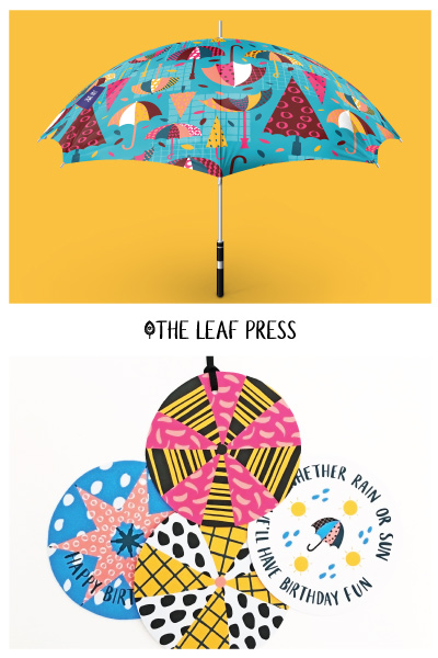 Weather gift tags and umbrella gift boxes