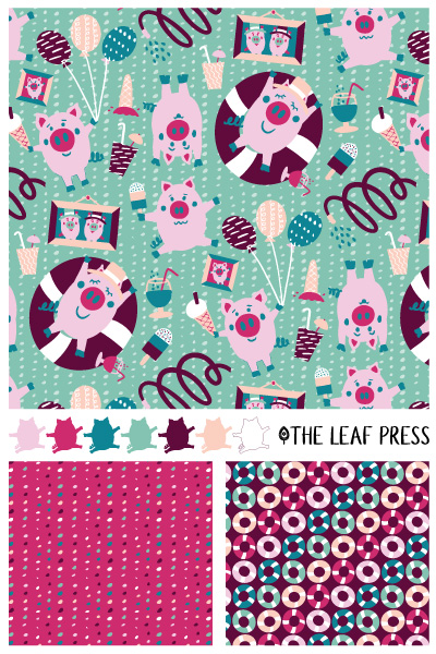 Party Pigs surface pattern design