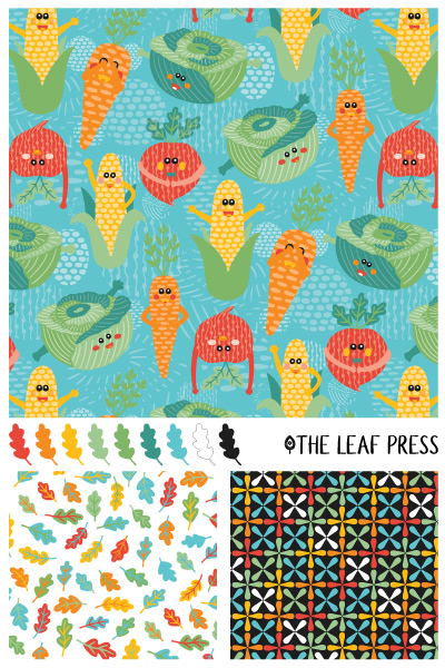 vegetable themed surface pattern design