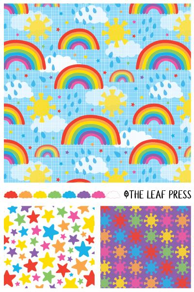 Rainbow Reverie surface pattern design