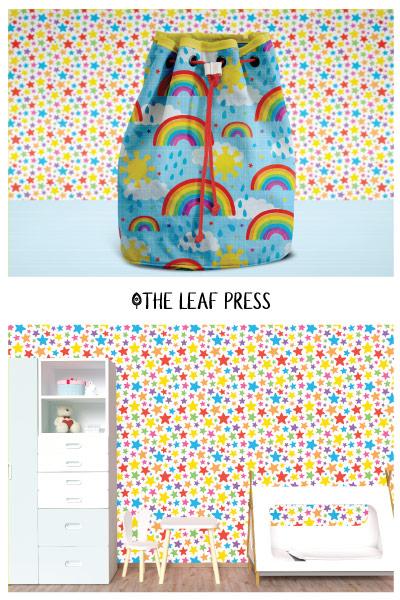 rainbow themed surface pattern design