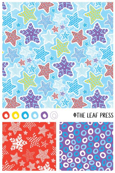 Sprightly Stars surface pattern design