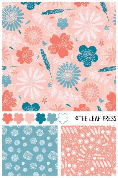 Summer Stems surface pattern design