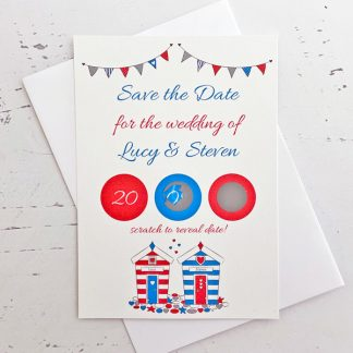 beach hut save the date scratch card