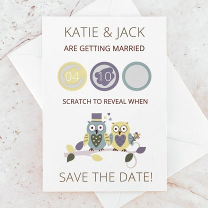 owl themed save the date card