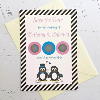penguin save the date scratch card