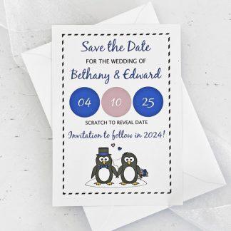 penguin save the date scratch card