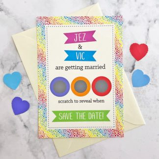 rainbow hearts save the date scratch card