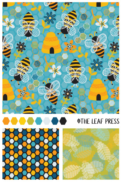 brilliant bees surface pattern design
