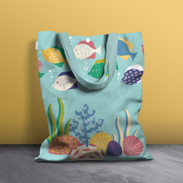 sea design tote bag