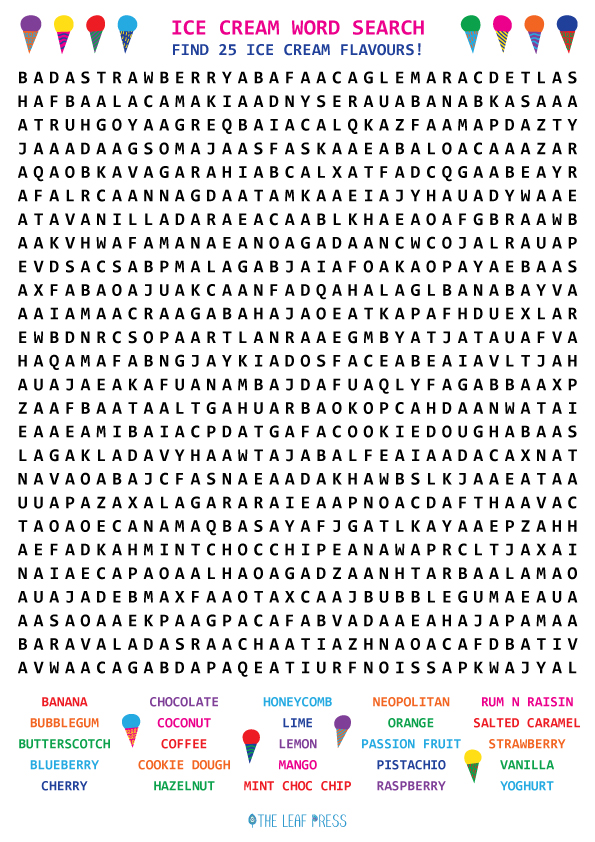 ice cream wordsearch black and white
