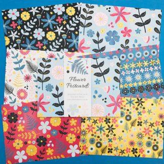 flower postcards set of six