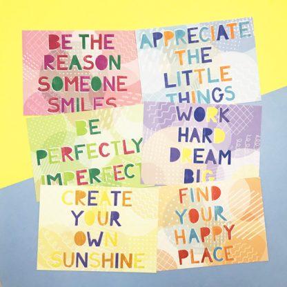happy postcards set of six