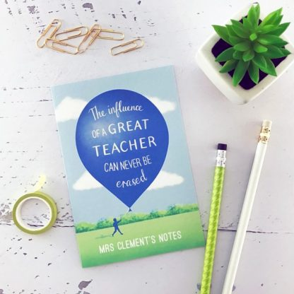 personalised teacher notebook balloon