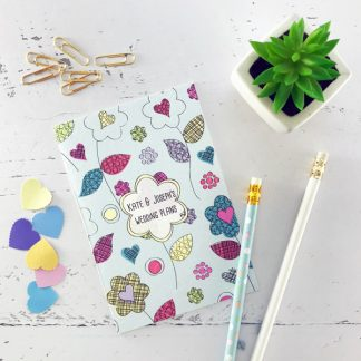 flower power wedding notebook