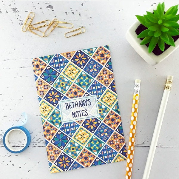 Portuguese tile patterns notebook