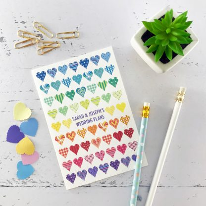 rainbow hearts wedding notebook
