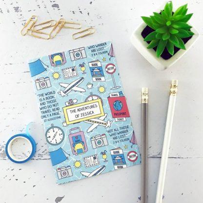 Travels personalised notebook